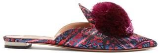 Aquazzura - Powder Puff Backless Loafers - Womens - Pink Multi