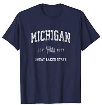 Michigan T-Shirt Vintage US Flag Sports Design Tee