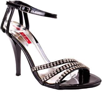 Celeste Shoes Women's Crisy-01 Faux Leatherette High Heel Pumps with Rhinestone Crossed Straps 7.5 D(M) US
