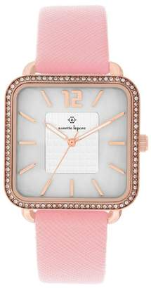 Nanette Lepore NANETTE Women's Crystal Accented Square Faux Leather Strap Watch, 42mm