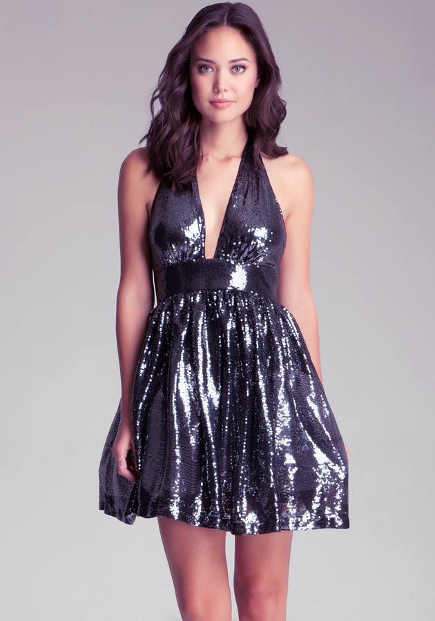 Bebe Sequin Halter Dress