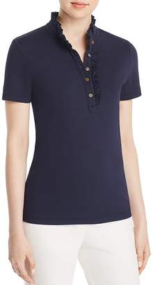 Tory Burch Emily Ruffle Polo Shirt