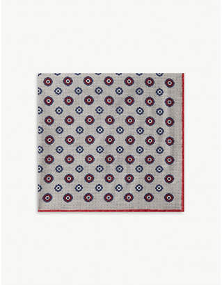 Floral wool-blend pocket square