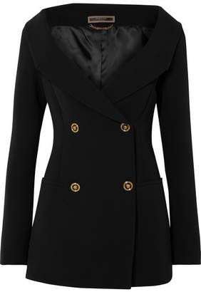 Versace Off-the-shoulder Double-breasted Silk Blazer - Black