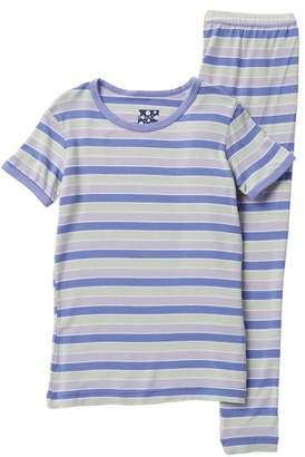 Kickee Pants Printed Girl Tropical Stripe Short Sleeve Pajama Set (Baby, Toddler, Little Girls, & Big Girls)