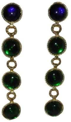 Chanel Runway Gripoix Glass Drop Chandelier Earrings