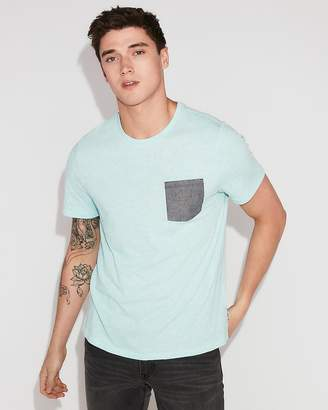 Express Contrast Pocket Crew Neck Tee