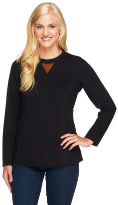 Denim & Co. Active French Terry Sweatshirt with Faux Suede Trim