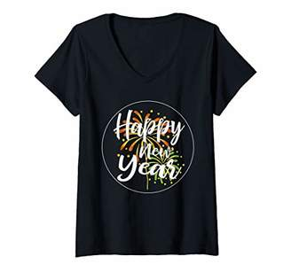 Womens Happy New Year 2020 Shirt New Years Eve Distressed Fireworks V-Neck T-Shirt