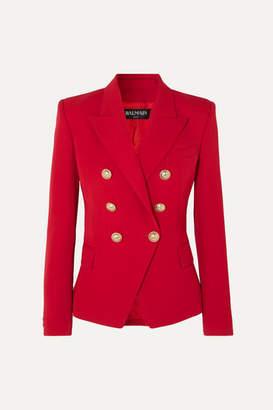 Balmain Double-breasted Grain De Poudre Wool Blazer - Red