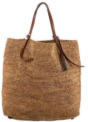 Michael Kors Leather-Trimmed Straw tote