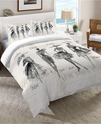 Laural Home Fashion Sketchbook Black Queen Comforter Bedding