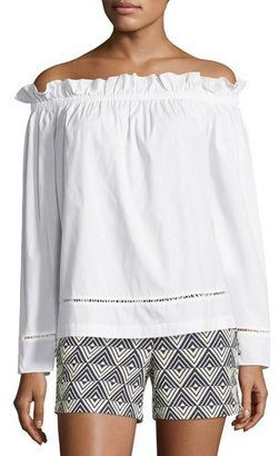 Trina Turk Hanalei Off-the-Shoulder Blouse, White $178 thestylecure.com