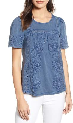 Lucky Brand Embroidered Eyelet Trim Peasant Top