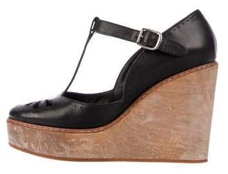 Chloé Leather T-Strap Wedges