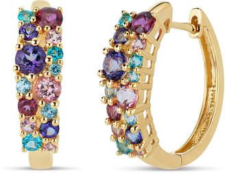 Swarovski FINE JEWELRY 18K Gold over Silver Multi Color Topaz Cluster Hoop Earrings featuring Genuine Gemstones
