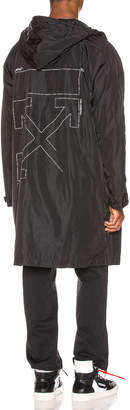 Off-White Off White Unfinished Raincoat in Black & Silver | FWRD