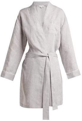 Pour Les Femmes - Belted Linen Robe - Womens - Grey Multi