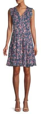 Rebecca Taylor Floral Silk & Cotton Fit-&-Flare Dress