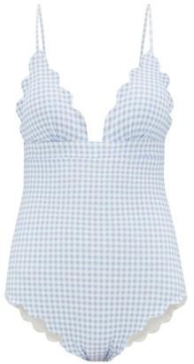 Marysia Swim Santa Clara Gingham Scallop Edged Swimsuit - Womens - Light Blue