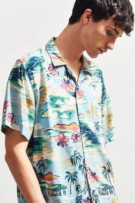 Urban Outfitters Hula Girls Rayon Short Sleeve Button-Down Shirt