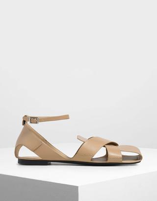 93f530d850d42 Charles & Keith Croc-Effect Criss Cross Peep Toe Sandals