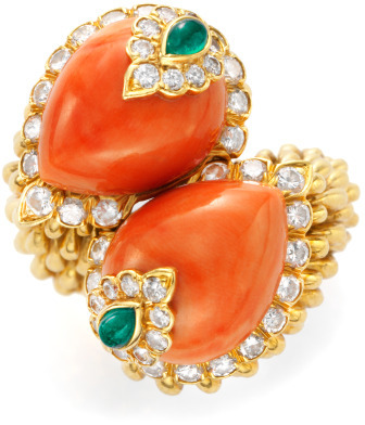 David Webb FD Gallery One-Of-A-Kind Gold Coral Emerald and Diamond Ring
