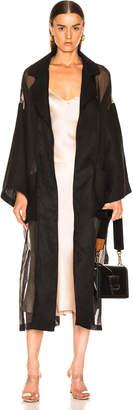 Loewe Organdy Oversize Belted Coat in Black | FWRD