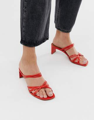 And other stories & strappy knotted heeled sandals in orange