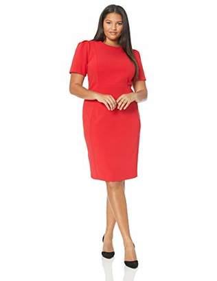 Calvin Klein Women's Plus Size Solid Short Sleeved Princess Seamed Sheath Dress