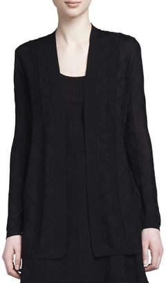 M Missoni Zigzag Knit Long Cardigan, Black