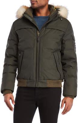 Pajar Canada Real Fur Trim Down Bomber Jacket