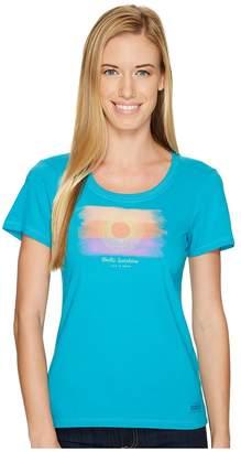 Life is Good Watercolor Hello Sun Crusher Scoop Women's Short Sleeve Pullover