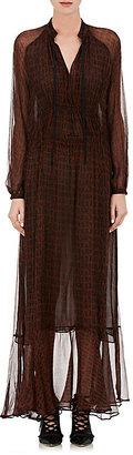 Derek Lam Women's Crocodile-Print Silk Georgette Maxi Dress-RED $1,695 thestylecure.com
