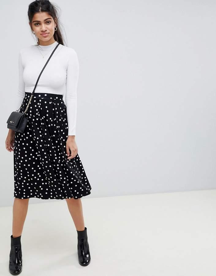 ASOS DESIGN midi skirt with box pleat in polka dot print