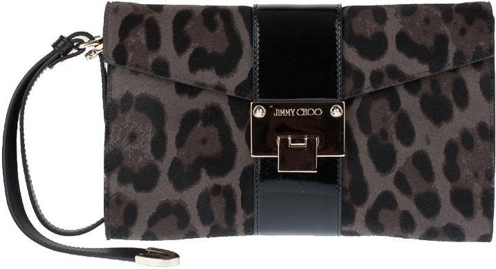 Jimmy Choo Rivera S leopard print clutch bag