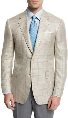 Neiman Marcus Oxxford Plaid Two-Button Wool-Blend Sport Coat, Tan