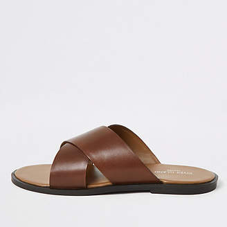 River Island Brown leather cross strap sandals