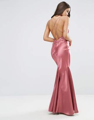 ASOS Satin Fishtail Maxi With Multi Strap Back Dress $113 thestylecure.com