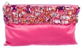 Prada Crystal-Embellished Embellished Satin Clutch