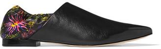 3.1 Phillip Lim - Babouche Floral-print Leather Slippers - Black $450 thestylecure.com