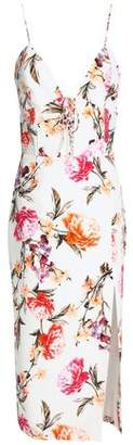 Nicholas Lace-Up Floral-Print Silk Crepe De Chine Midi Dress