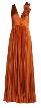 Rag & Bone AMUR Aviva Pleated Ruffle Shoulder Gown