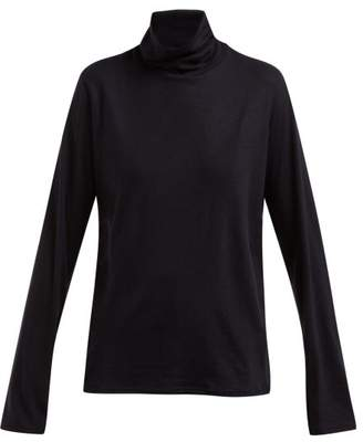 The Row Erita High Neck Cashmere Blend Sweater - Womens - Navy