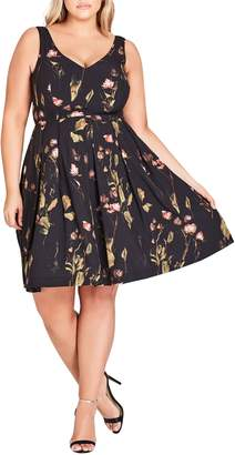 City Chic Sweet Stems Fit & Flare Dress