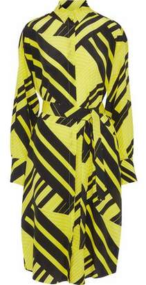 MSGM Belted Printed Silk Crepe De Chine Tunic
