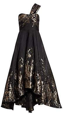 Marchesa Women's One-Shoulder Metallic High-Low Dress