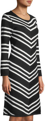 Neiman Marcus Scoop-Neck Long-Sleeve Striped A-Line Dress