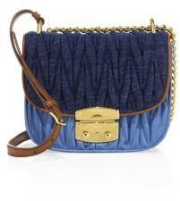 Miu MiuMiu Miu Matelasse Denim & Leather Crossbody Bag
