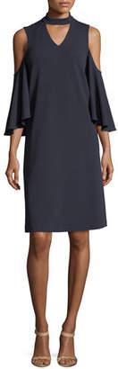 Nic+Zoe Textured Cutout Flutter-Sleeve Dress, Plus Size